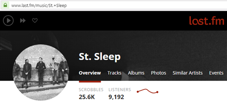 An example of an artist page (St. Sleep)